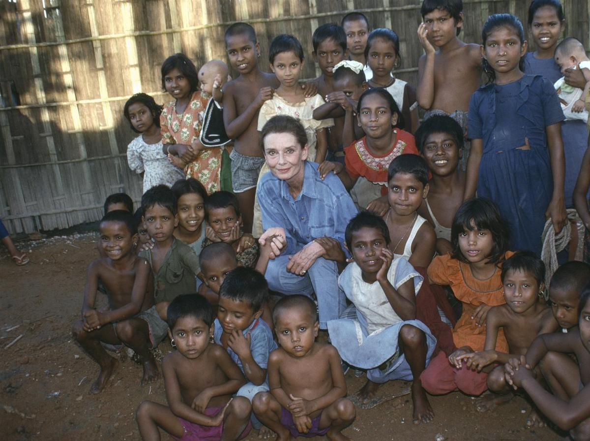 UNICEF Goodwill Ambassador Audrey Hepburn visited children at their school in Bangladesh in 1989.