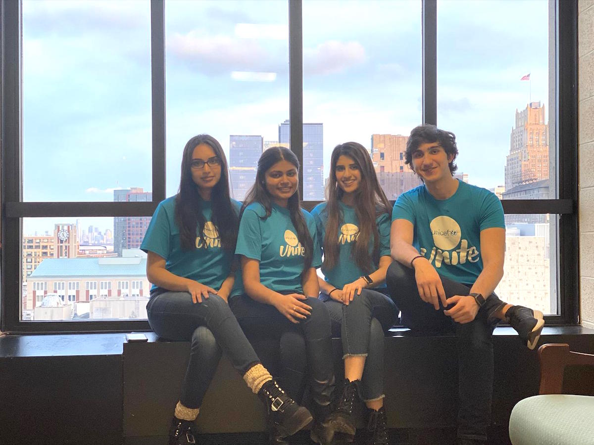 Jawad, 22 (far right) and fellow Rutgers University UNICEF Club leaders at a UNICEF UNITE School Club event in Newark, New Jersey on March 4, 2020, just before the club shifted to virtual engagement to prevent the spread of the novel coronavirus