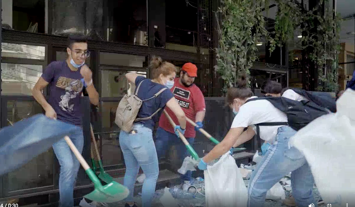 Young people in Beirut come together to help rebuild their city in the wake of the deadly explosion on August 4, 2020.