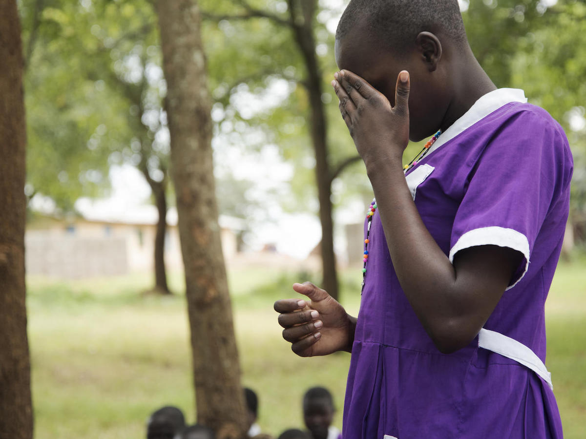 At Kalas Girls Primary School in Uganda's Amudat district, a student breaks down as she describes running away from home to avoid being subjected to female genital mutilation in 2018.