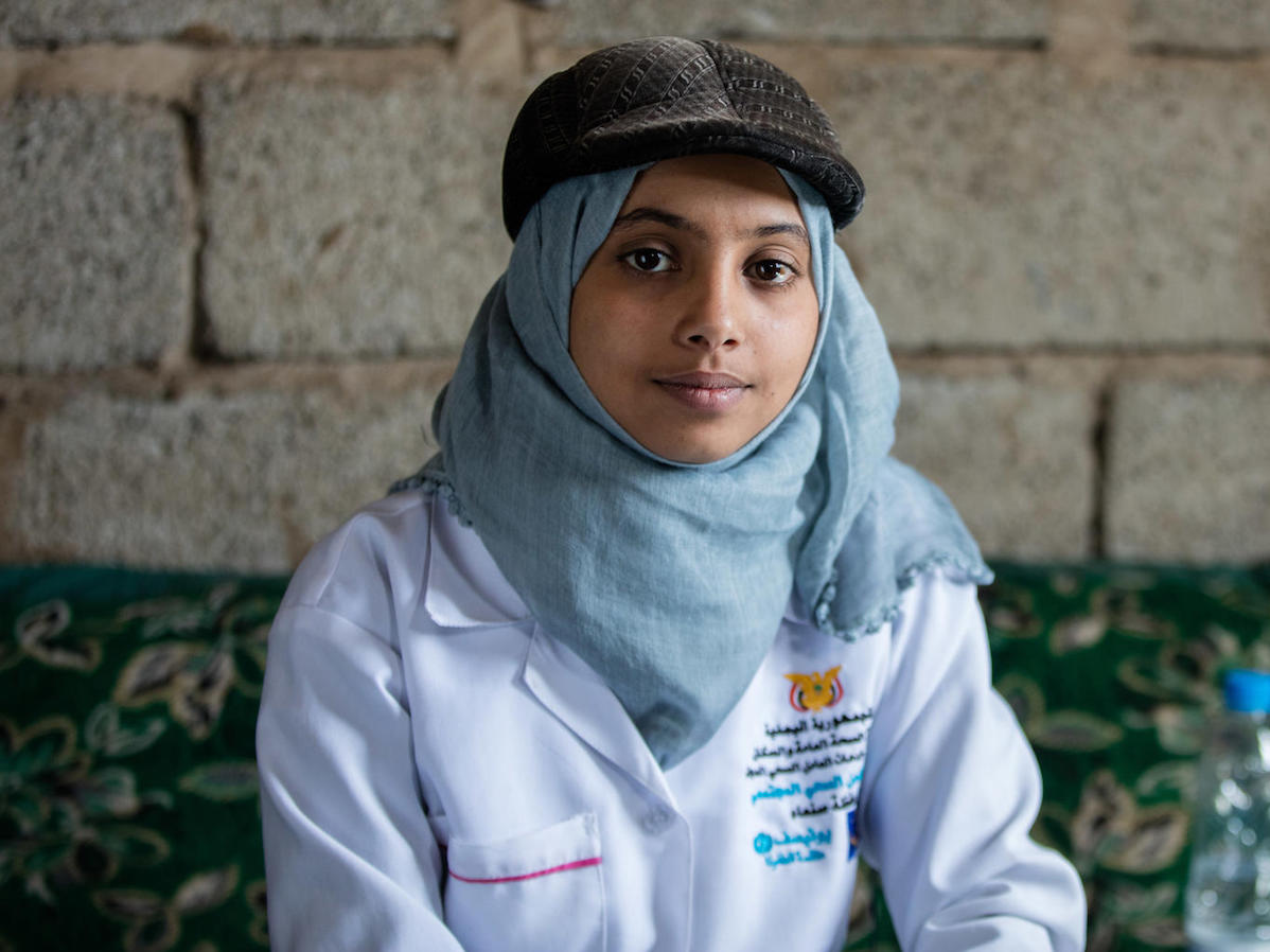 Nineteen-year-old Afrah is a UNICEF-supported community health worker in Yemen.