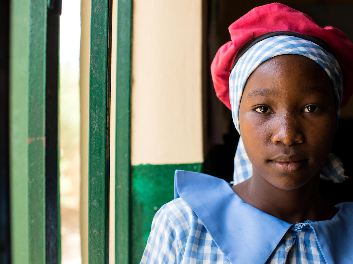 Displaced by armed conflict in northeast Nigeria, Julianna, 13, is now head girl at the UNICEF-supported Kulmsulum School in Maiduguri, Borno State.