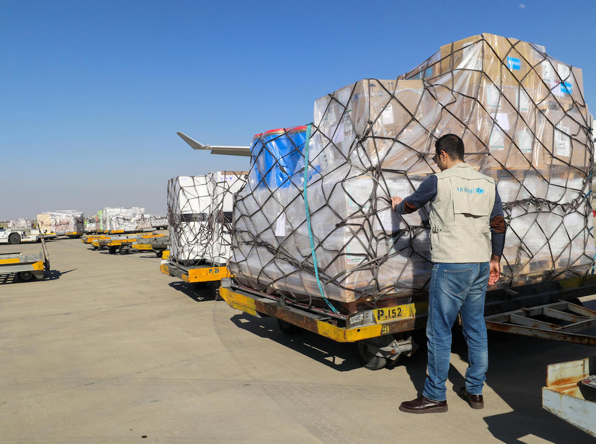 On 5 March 2020 in Tehran, Iran, UNICEF's second shipment of supplies to fight the coronavirus arrives at the Imam Khomeini International Airport.