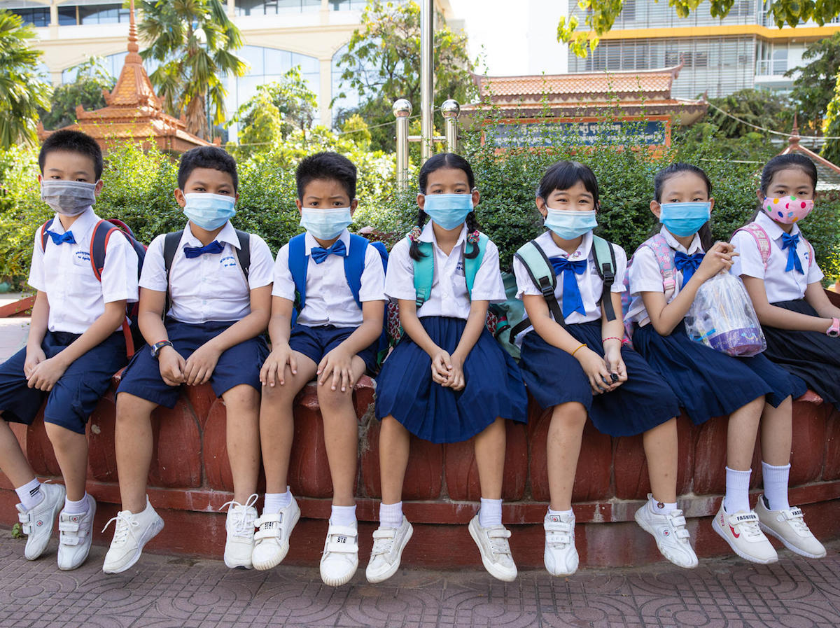 Students at Preah Norodom Primary School, Phnom Penh, Cambodia during their second day of school reopening, September 7, 2020.