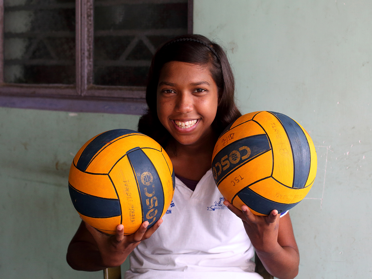 15-year old Roshni Parvin loves to play basketball and swim. She is a water polo player from her district and has represented the team at several district, state and national level competitions, Canning, 24 Parganas, West Bengal, India.