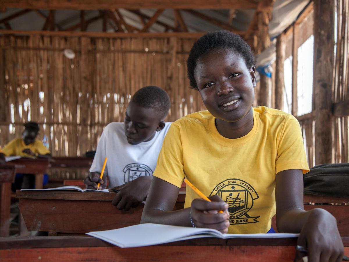 Fiifteen-year-old Martha Ajah participates in UNICEF's 'Dear Teacher' letter-writing workshop at Venus Star School in Juba, South Sudan in March 2021.