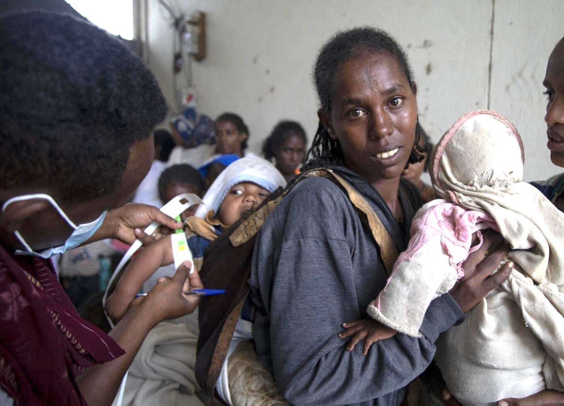 Ababa, 25, brought her 6-month-old baby girl, Wegahta, to a UNICEF-supported nutrition screening site in Gijet in southern TIgray on July 20, 2021.