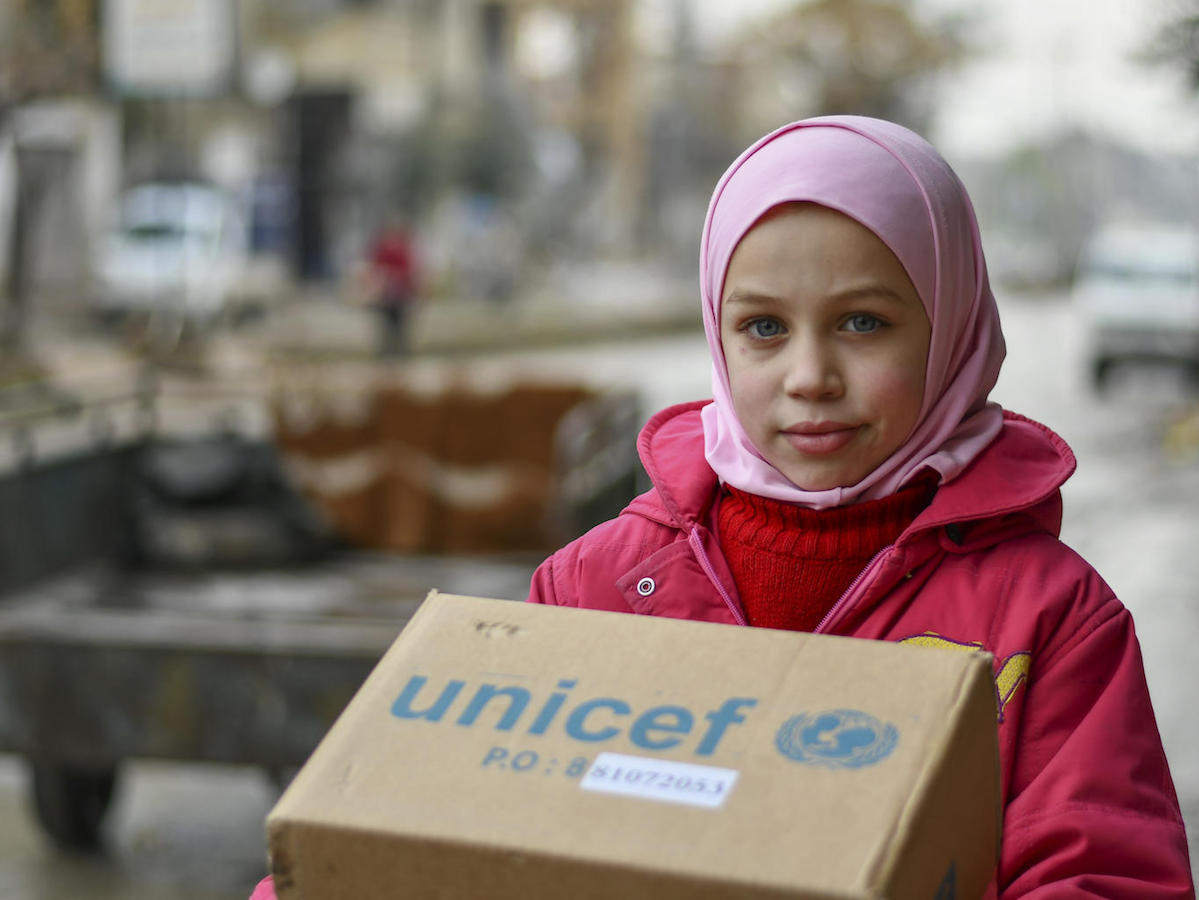 Najwa, 10, received new winter clothes from UNICEF in Hammourieh, rural Damascus in the Syrian Arab Republic.
