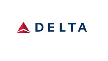 Delta logo. Delata with a red triangle next to it.