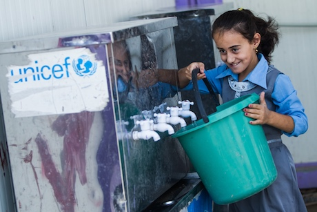 UNICEF is water facilities in Domiz camp for Syrian refugees in northern Iraq, benefiting over 2,000 children.