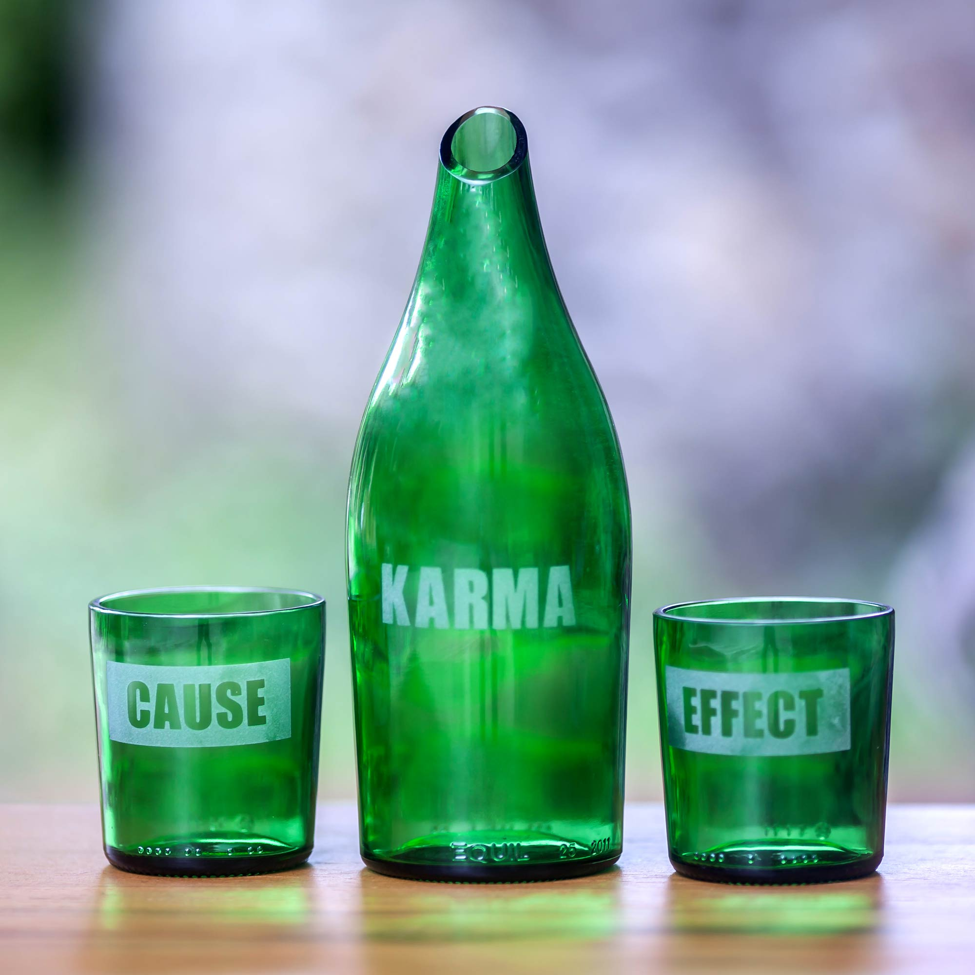 Karma Notes Recycled Glass Carafe with Two Glasses
