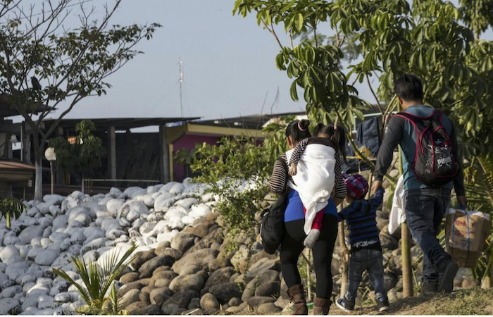 A migrant family from Central America en route to the U.S.