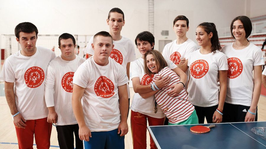 Lucy Meyer, spokesperson for the UNICEF-Special Olympics partnership, played table tennis while in Montenegro, spreading her message of inclusion on behalf of children with disabilities.
