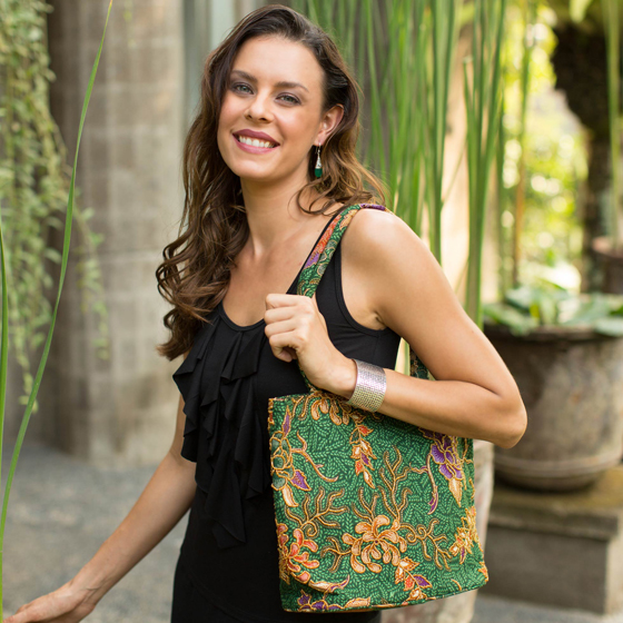 Princess Art Batik and Bead Cotton Tote Bag