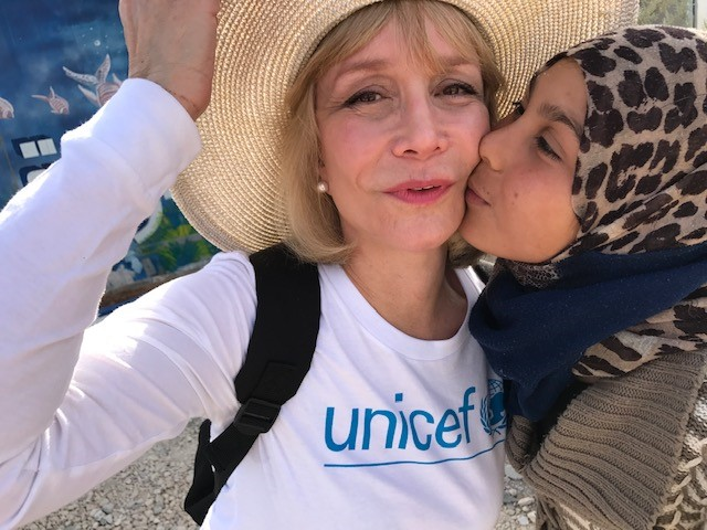 UNICEF USA Southwest Regional Board Chair Susan Boggio with a Syrian refugee girl she met on a visit to Jordan in 2016.