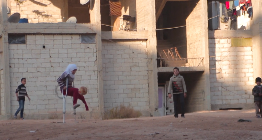 12-year-old Saja lost her leg in a bombing in her Syrian neighborhood and is now a refugee living at a camp in Aleppo.