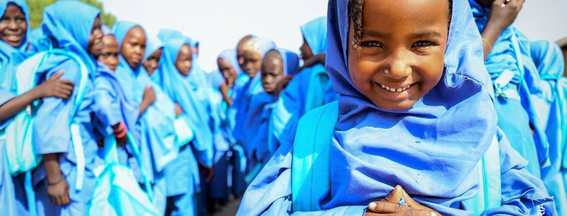 Zarah Mohammed, 5, is starting school for the first time. She and her family fled their village in Borno state, Nigeria.