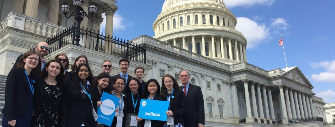 UNICEF USA advocates from Indiana meet with former Congressman Pete Visclosky (D-IN).