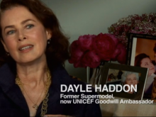 UNICEF Ambassador Dayle Haddon speaks to the camera.