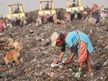 Khadija, 10, works under hazardous and unhealthy conditions at a garbage dumping site in Demra, Dhaka on 4 April, 2012. She hopes to find materials that can be sold and recycled. A stray dog lurks nearby, looking for food.