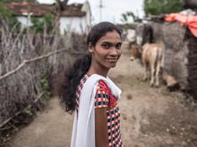 Neelima Talande, a volunteer posed for a photograph at her village Khairgaon Deshmukh. 23-year-old Neelima Talande has been with the child protection programme since UNICEF began its project in Yavatmal in 2010.