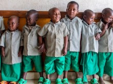 Since 2012, UNICEF has supported the Government of Rwanda to build early childhood development and care centers for children up to age 6, like these kids lining up for class in Kigali.