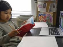 On April 2, 2020, Yolanda, 9, participates in one of her first virtual classes while studying from home in New York City, after in-person classes were suspended in mid-March to prevent the spread of the novel coronavirus