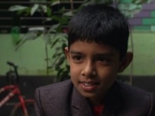 Anik, 8, suffered the effects of lead exposure when a battery recycling plant opened up near his home in Kathgora, north of Dhaka, Bangladesh.