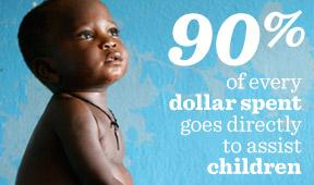 90% of every dollar we spend goes directly to help children