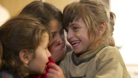 Syrian refugee girls in Lebanon.