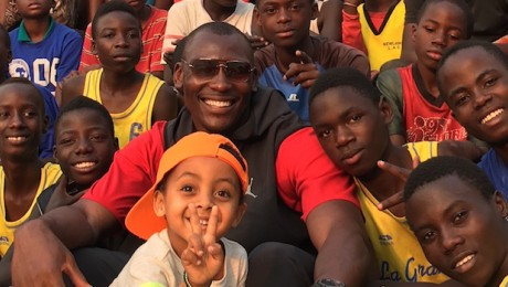 Bismack Biyombo visits with kids in the DRC.
