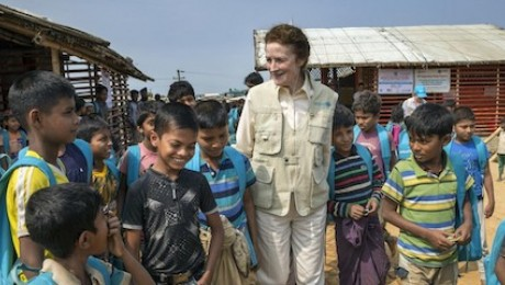 On February 25, 2019 in Bangladesh, UNICEF Executive Director Henrietta Fore speaks with a group of Rohingya children outside a learning center in the Kutupalong-Balukhali refugee camp in Cox's Bazar, Bangladesh.