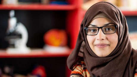 Bodoor, 17, in the science lab of her UNICEF-supported school in Azraq refugee camp in Jordan in 2018. She and her family settled in Azraq after fleeing violence in Syria in 2014.