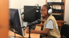 Christella Razanamalala, 16, and her fellow Junior Reporters Club members use their radio journalism skills to cover important community issues in Taolagnaro, Madagascar.