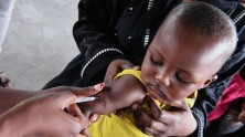 A baby is vaccinated at a UNICEF-supported clinic in Brazzaville, in the Democratic Republic of the Congo.