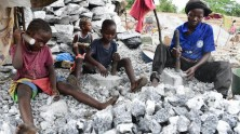 Children work alongside parents at the granite mines in Burkina Faso.