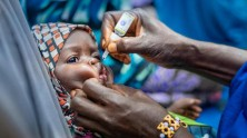 A child from Kano State, Nigeria, is given an oral polio vaccine.