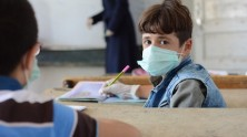 Abdulkader, 9, attends a UNICEF-supported level 1 'Curriculum B' class at Adnan Almalki school in Hama city, Syria.