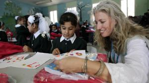 UNICEF Chief of Field Office in Gaza Pernille Ironside visits Sheikh Radwan School in Gaza City on the first day of school. © UNICEF/NYHQ2014-1511/El Baba
