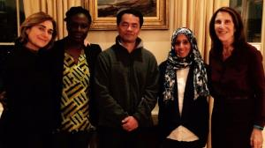 Pictured from left to right, Harvard FXB Professor Jacqueline Bhabha, new fellows Emelia Allan, Chivith Rottanak, and Noor Al-Kasadi, and UNICEF National Board Member Barrie Landry at a welcome dinner in Boston.