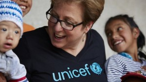 President & CEO Caryl M. Stern visits with Guatemalan children being helped by UNICEF in 2010.