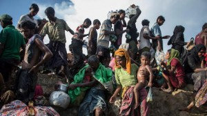 On October 16, 2017, Rohingya refugees cross into Bangladesh from Myanmar.