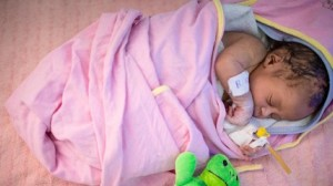 An infant sleeps in the neonatal intensive care unit at the UNICEF-supported Assosa General Hospital in Benishangul-Gumuz, Ethiopia.