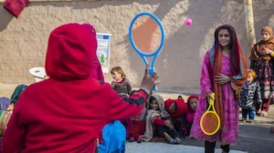 Saima, 12, plays with other girls her age at a UNICEF-supported Child-Friendly Space in Nangarhar province, eastern Afghanistan.