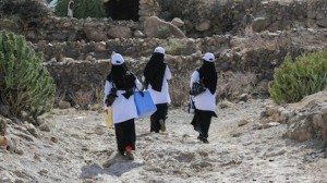 Polio vaccination teams hike into the mountains to reach children in Yemen's most remote villages.