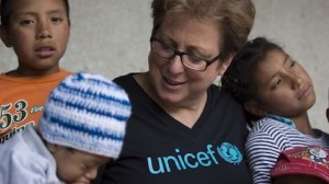 UNICEF USA President and CEO Caryl M. Stern visits with children in Guatemala in 2015.