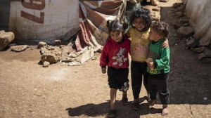 There are nearly 1 million registered Syrian refugees living in Lebanon, more than half of them children. The three pictured here have taken shelter with their famlies in an informal settlement in Terol in the Bekaa Valley.