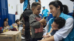On April 24, 2019 in Cucuta, Colombia, UNICEF Communication for Development specialist Andrea de la Torre visits with children who recently arrived from Venezuela.