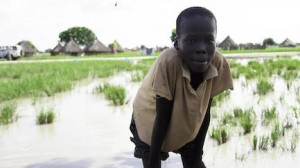 A boy stands in one of the flooded areas of Panyagor, South Sudan in October 2019.