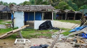 Badly damaged buildings are pictured near Vanuatu's capital of Port Vila on April 7, 2020, after Tropical Cyclone Harold swept past and hit islands to the north.